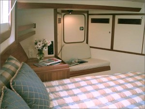 "The forward stateroom has a ""home-sized"" island berth and abundant cabinetry."