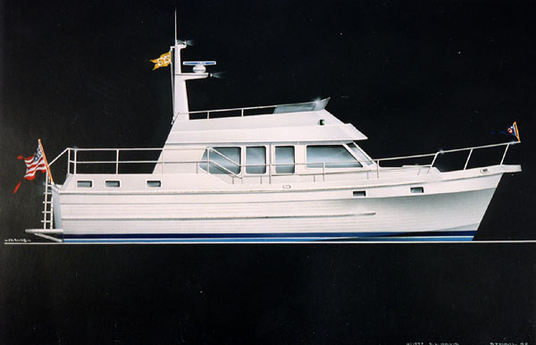 Modern features abound in the vintage-look Symbol 42' trawler.