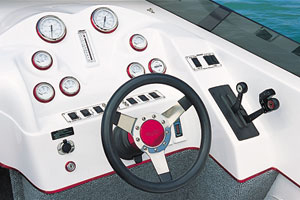 The uncluttered helm boasted a clean and simple arrangement of gauges.