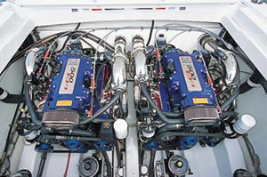 Twin 470-horsepower Mercury Racing HP500EFI engines powered the 38-footer.
