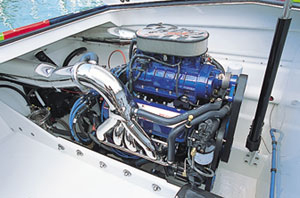 A pair of 550-horsepower Mercury Racing HP575SCi engines delivered serious kick for the 32' catamaran.