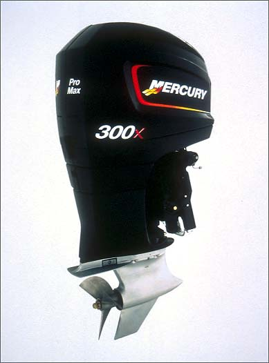 The Pro Max 300X outboard from Mercury Racing cranks out more than 300 horsepower.