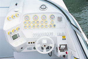 Gauges and levers, all Gaffrig, including a 100-mph speedometer, were arranged so they could be seen at a glance.