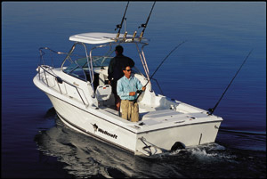 With an XDP unit and an Ocean Series engine rather than an outboard, transom space is free and uncluttered for fishing.