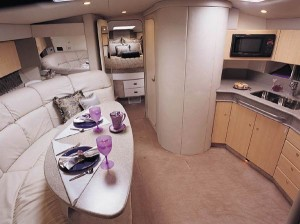 The dining area is open to the well-equipped galley.