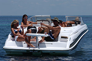 The bow rider's swim platform has four molded seats, complete with cushions, and a removable table for cooling down and socializing on the stern.
