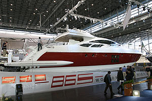 On display at the Duesseldorf Boat Show, the Azimut was designed by Stefano Righini