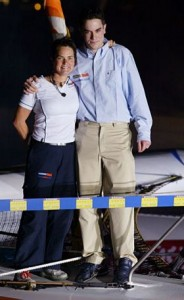 Ellen MacArthur with brother Fergus. Photo by Andrea Francolini / DPPI / Offshore Challenges