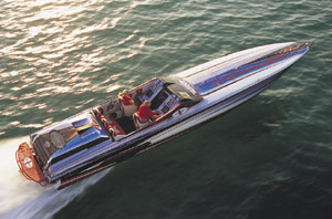 The 46 Concept thrived on the 1- to 2-foot chop we came across while running on Sarasota Bay. (Photo by Tom Newby)