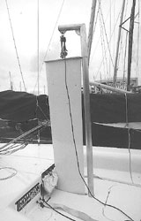 The gantry makes lifting the 100kg centreboard easy and is left on shore while sailing