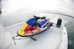 The Twin Vee carries a four-stroke Kawasaki Jet Ski.