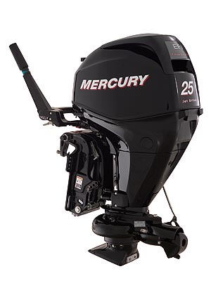 Electronic fuel injection is a standard feature on the new Mercury 25/30 EFI FourStroke models, even those with manual (rope) starting. No other manufacturer offers EFI at this horsepower rating. Shown here is the jet version of the outboard.