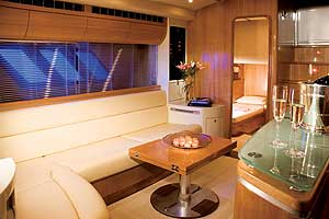 The main saloon of the 55' Cigarette Super Yacht has more than six feet of headroom.