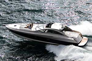 With twin 1,000-hp diesel engines, the 55' Cigarette Super Yacht can cruise at more than 50 mph.