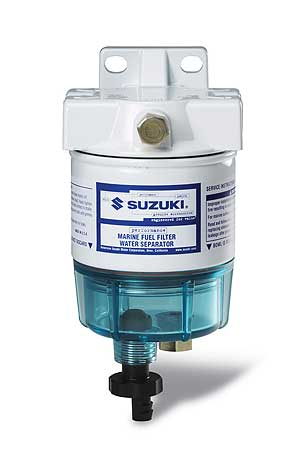 Water in contaminated fuel accumulates in the blue reservoir at the bottom of this Suzuki water separator/fuel filter. The fitting on the bottom can be opened to drain water from the filter. This compact-size filter is a good choice for smaller boats.