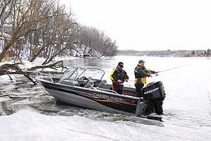 Keep your motor tilted down in the water during freezing temperatures to keep the water pump from icing over.