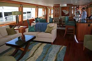 The saloon of the Lazzara 116 was truly stunning. (All photos courtesy/copyright Kim Kavin)