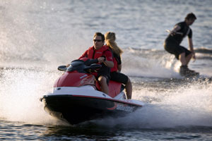 The Sea-Doo Wake 155 combines a great tow-sports engine with a pylon and board rack on the economical GTI platform. It's a great choice for families who tow a lot with a PWC, but don't need the power or other features of the Wake Pro 215.