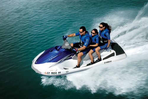 The cheapest new PWC money can buy, the $7,699 Yamaha WaveRunner VX offers room for three, but no reverse, mirrors or security system.