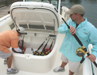 Built-in wells for fish and bait make the 370 a great fishing platform.