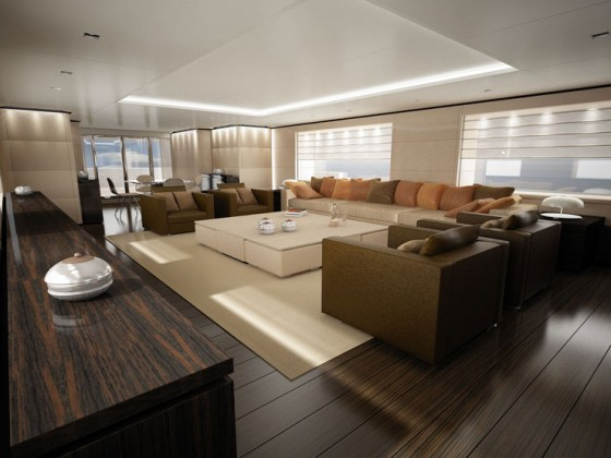 The main deck salon of the Sanlorenzo 44 Steel.