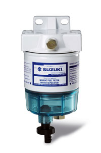 A 10-micron remote fuel filter is your best defense against contaminated gas. This Suzuki filter has a plastic bowl with a tap to drain water.