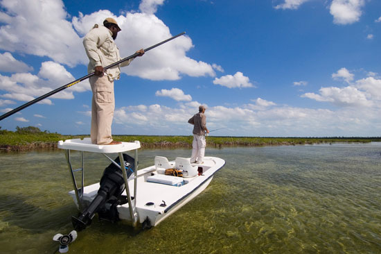Poling a flats skiff for Bone fishing key west
