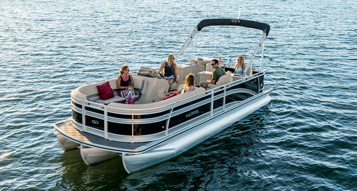 The Harris Sunliner 240 shows how much useable space a pontoon boat provides.