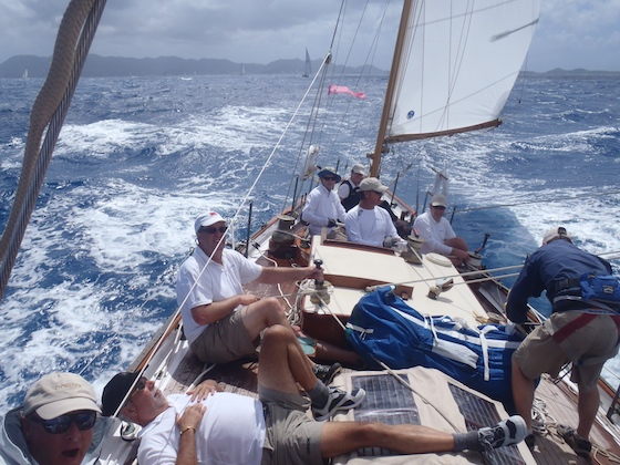 Dorade reaching across Anguilla channel in Heineken Regatta 2012