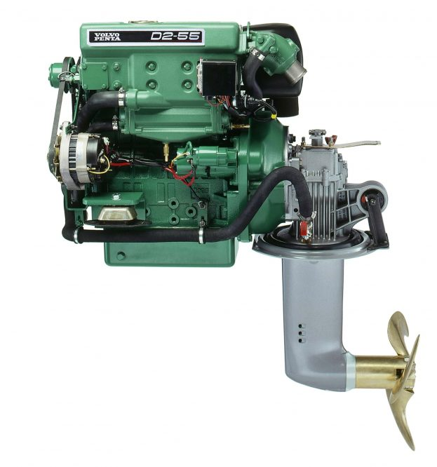 A Volvo Penta D2-55 diesel engine mated to a saildrive unit makes for a simple, compact propulsion package, which is attractive to today's boatbuilders. Photo courtesy Volvo Penta.