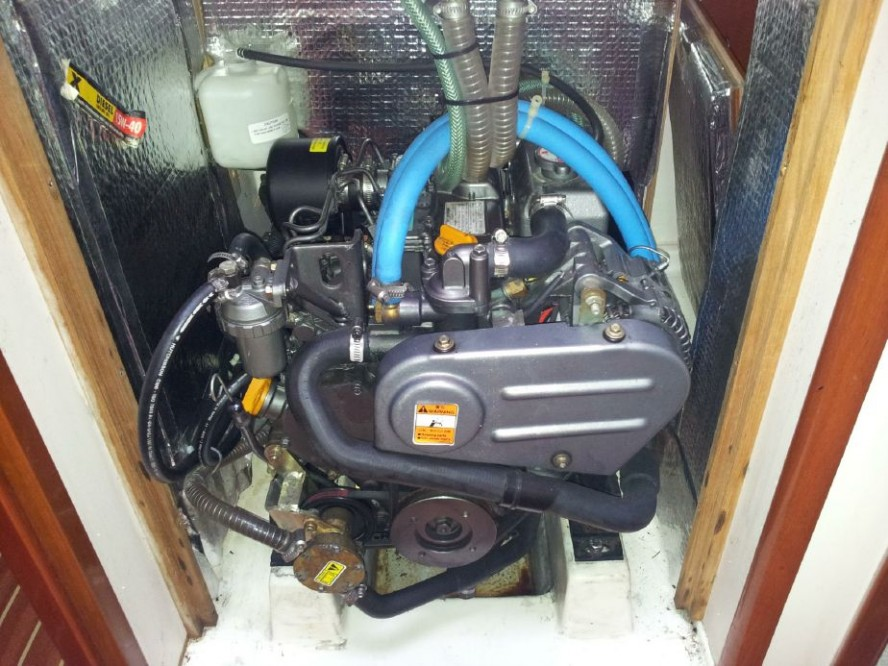 This is a Yanmar saildrive installation in a Hanse production sailboat. Most owner-serviceable parts are easy to access even in this restricted engine space. Photo courtesy of YachtWorld.com.