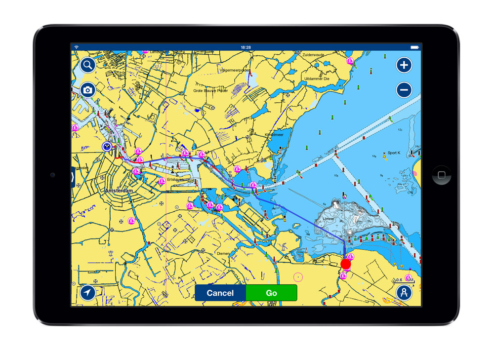 The Navionics navigation app includes autorouting, which makes it easier to plan routes through narrow channels as you navigate.