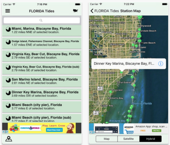 The USA Tides app provides marine tide information across the US.