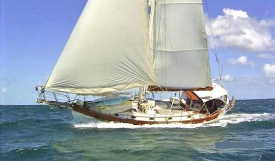Hans Christian 38 under full sails