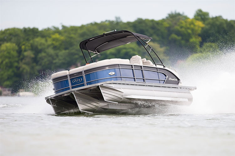 manitou tri-toon Tri-toons like the Manitou Legacy offer handling and performance that's more like a V-hull than a traditional pontoon boat.