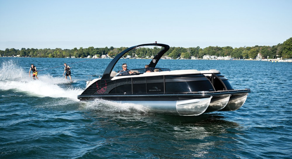 If you want stern-drive power, V-hull handling, and speeds over 45-mph, the Bennington 2575 RCW is a pontoon to check out.