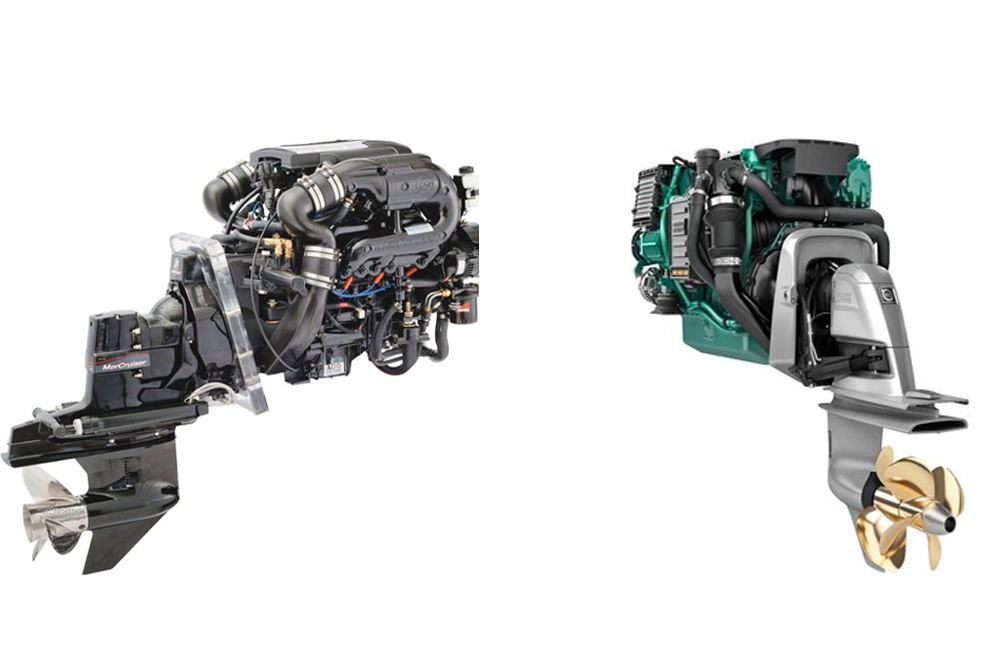 mercruiser and volvo penta have a wide range of stern drive offerings, and  dominate the american market for this type of marine powerplant