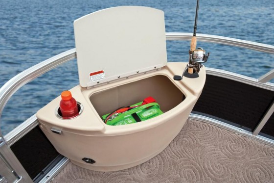 tackle center on pontoon boat