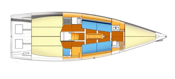 The layout emphasizes a big racing cockpit and minimal accommodations, with an open forepeak that serves as a sail locker. Forepeak bunks can be added as an option.
