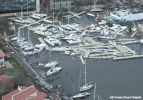 An Atlantic Coast marina in tatters after the passage of a hurricane. Photo courtesy of the U.S. Coast Guard.