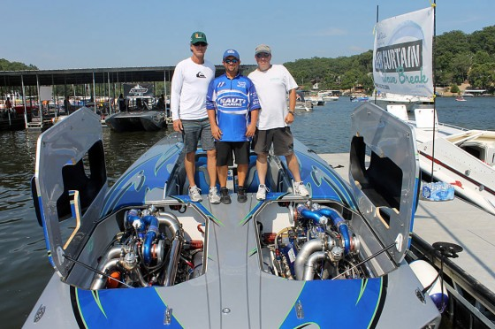 (From left) On the deck of the 195-mph Sterling 1700 Skater project cat, John Tomlinson, Myrick Coil and Mike D'Anniballe strike a pose.