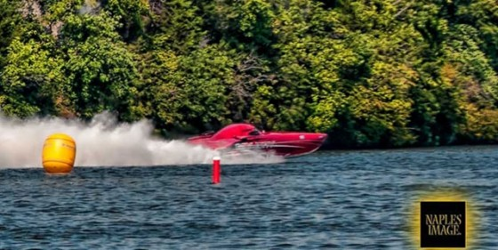 A turbine-powered 50-foot Mystic catamaran, My Way, ran to a record-setting 224 mph during the Shootout.