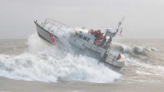 coast guard boat in rough weather