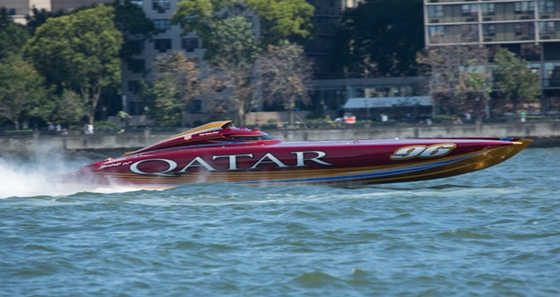 Qatar's turbine-powered 50-foot Mystic cat was built by the team to take a world title in Key West.