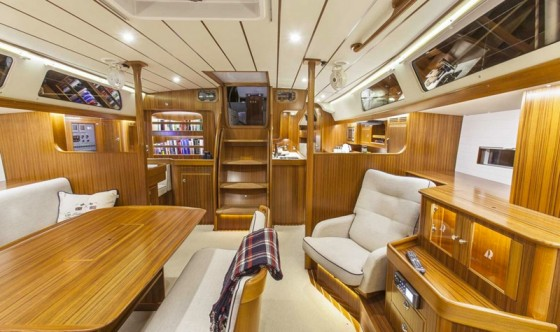 The saloon shows a high quality of workmanship and will provide plenty of crew comfort on and off the high seas.