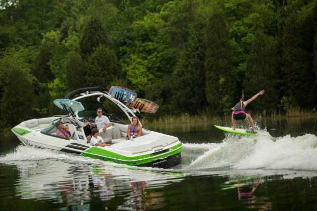A photo of  Moomba 2.5 with a wakesurfer behind.