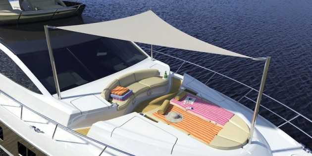 A photo of the Sea Ray L650's foredeck.