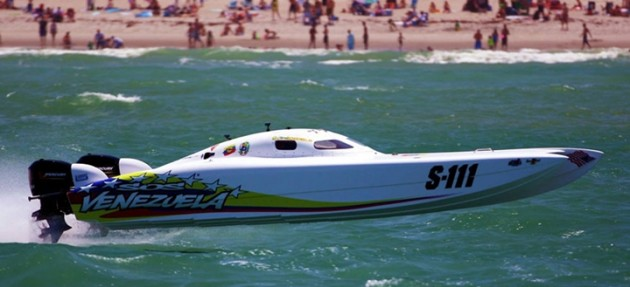 SOS Venezuela, which took first place in the last SBI race in the Superboat Stock class, is likely to duke it out with The Hulk/Redline Oil in the next one. Photo by Pete Boden.