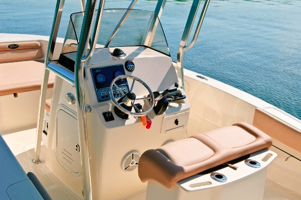 A photo of the deck layout on a Scout Sportfish 195.