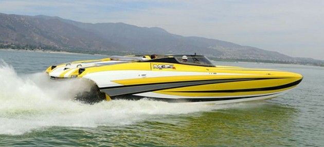 "Shown here during its first test run on Southern California's Lake Elsinore, the latest DCB M-35 cat is outfitted with Mercury Racing M8 ""R"" drives."